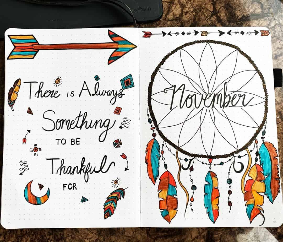Boho Bullet Journal Theme Inspirations - spread by @bees_arthive | Masha Plans