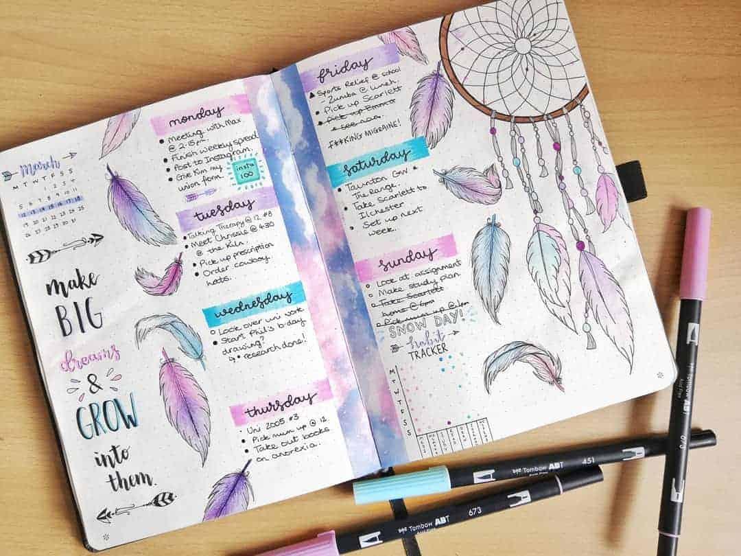 Boho Bullet Journal Theme Inspirations - spread by @bujokellyy | Masha Plans