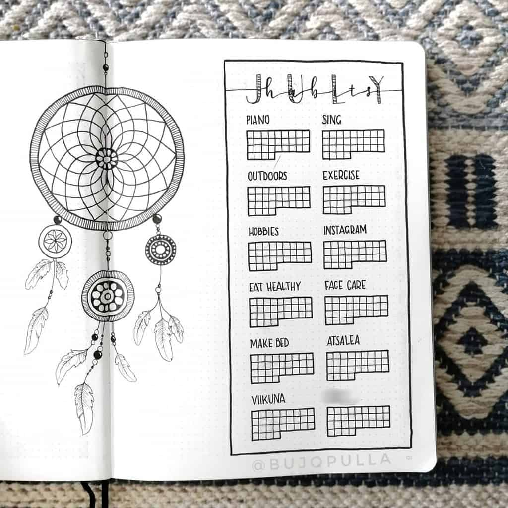 Boho Bullet Journal Theme Inspirations - spread by @bujopulla | Masha Plans