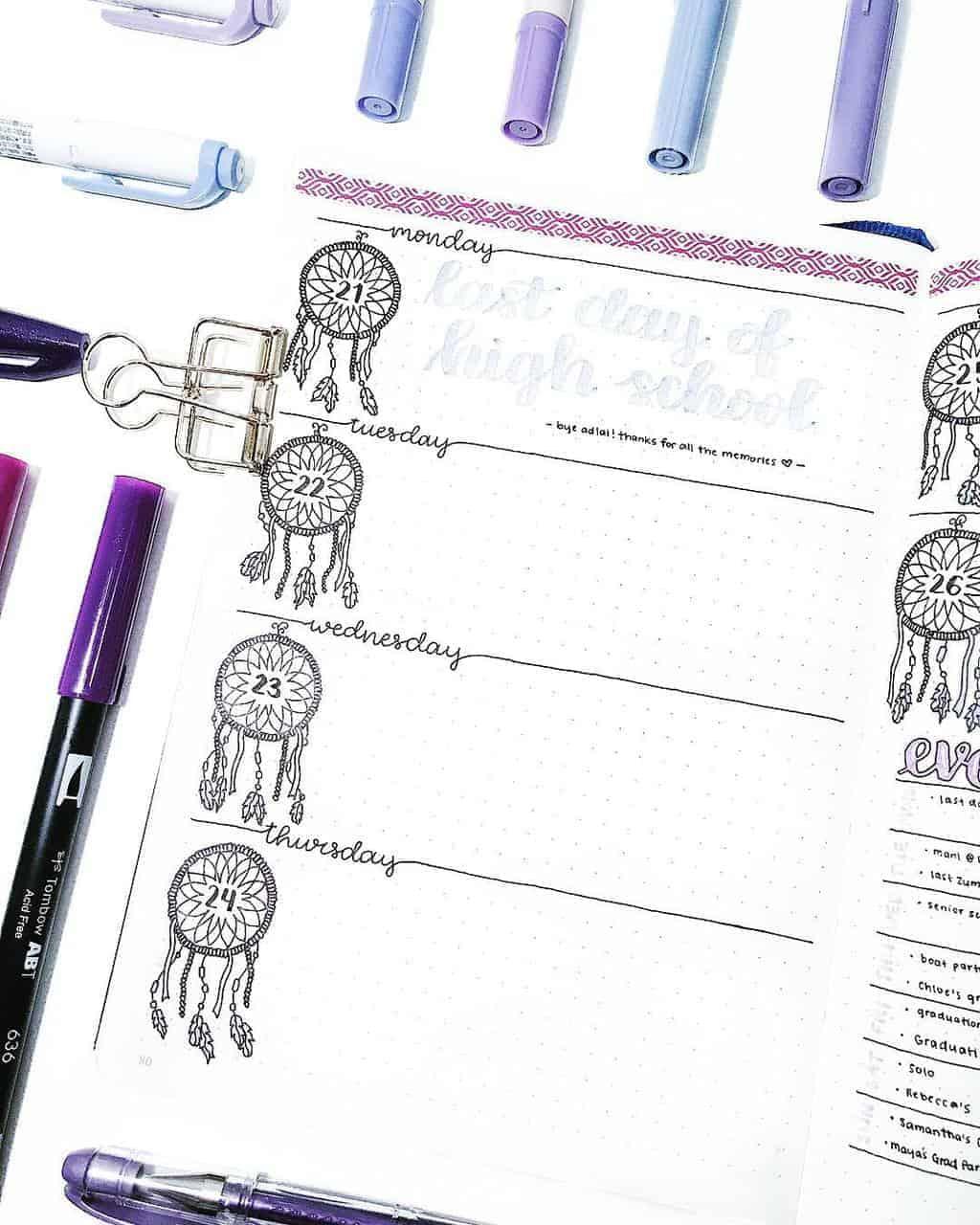 Boho Bullet Journal Theme Inspirations - spread by @bulletbycait | Masha Plans
