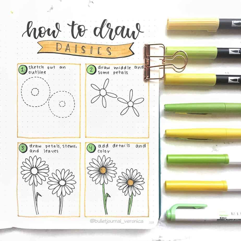 How To Draw Flowers - tutorial by @bulletjournal_veronica | Masha Plans