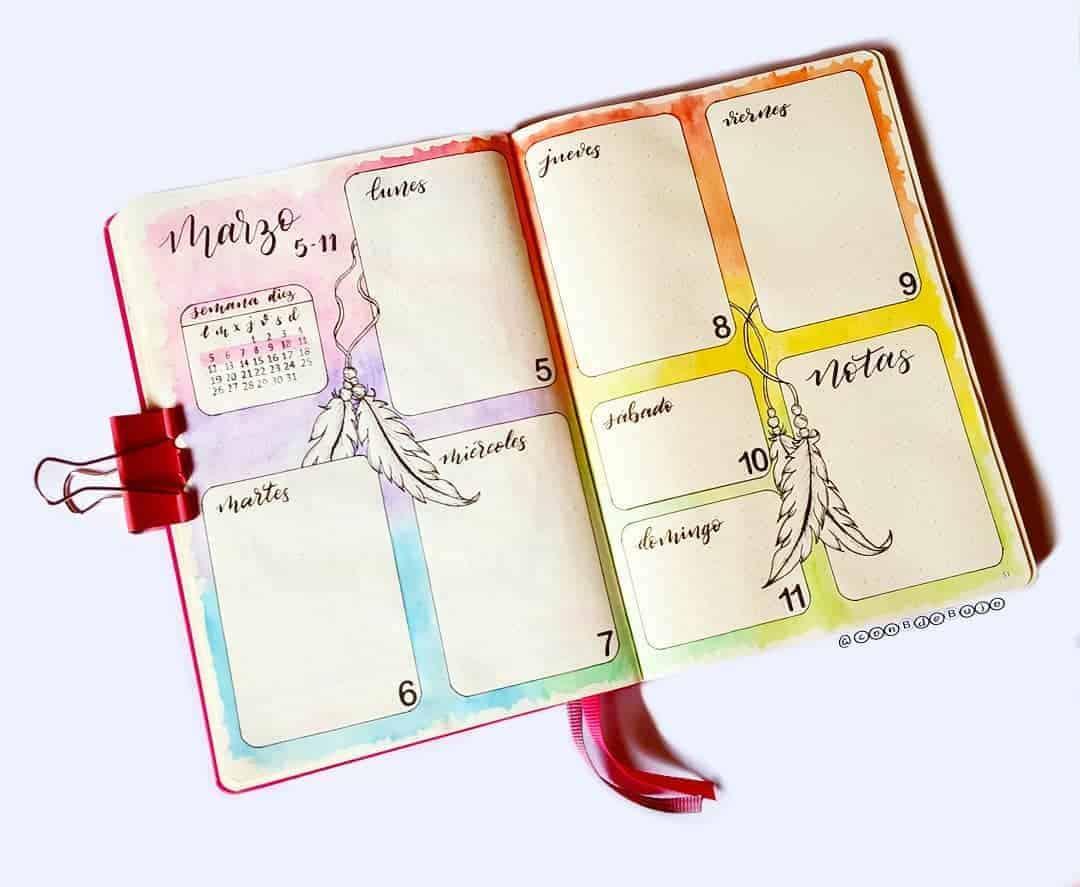 Boho Bullet Journal Theme Inspirations - spread by @conbdebujo | Masha Plans