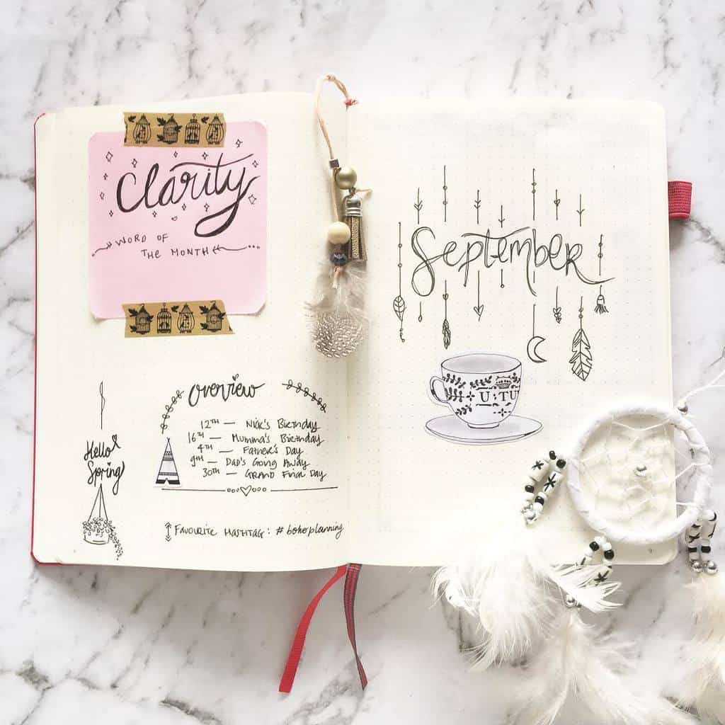 Boho Bullet Journal Theme Inspirations - spread by @diaryofaplannergirl | Masha Plans