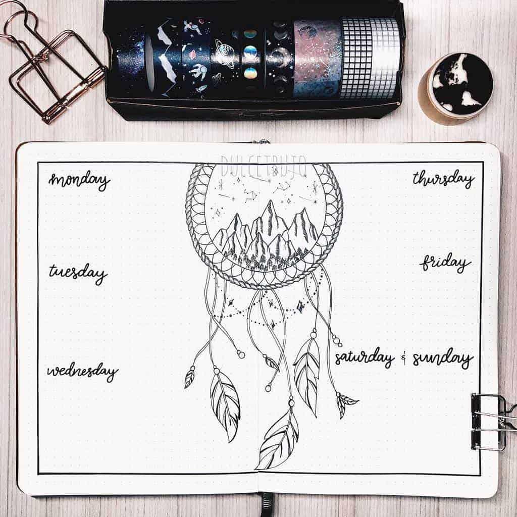 Boho Bullet Journal Theme Inspirations - spread by @dulcedjournals | Masha Plans