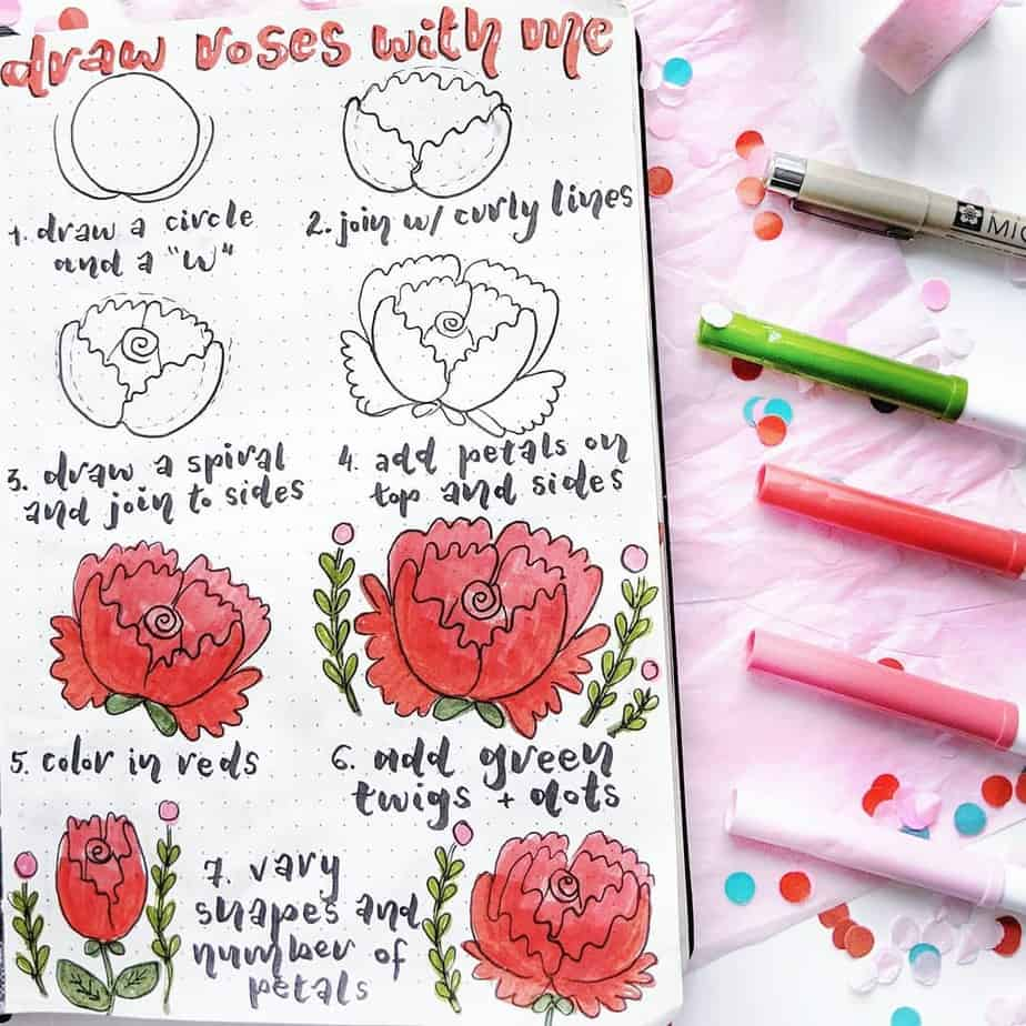 How To Draw Flower Doodles - tutorial by @mrinjournals | Masha Plans