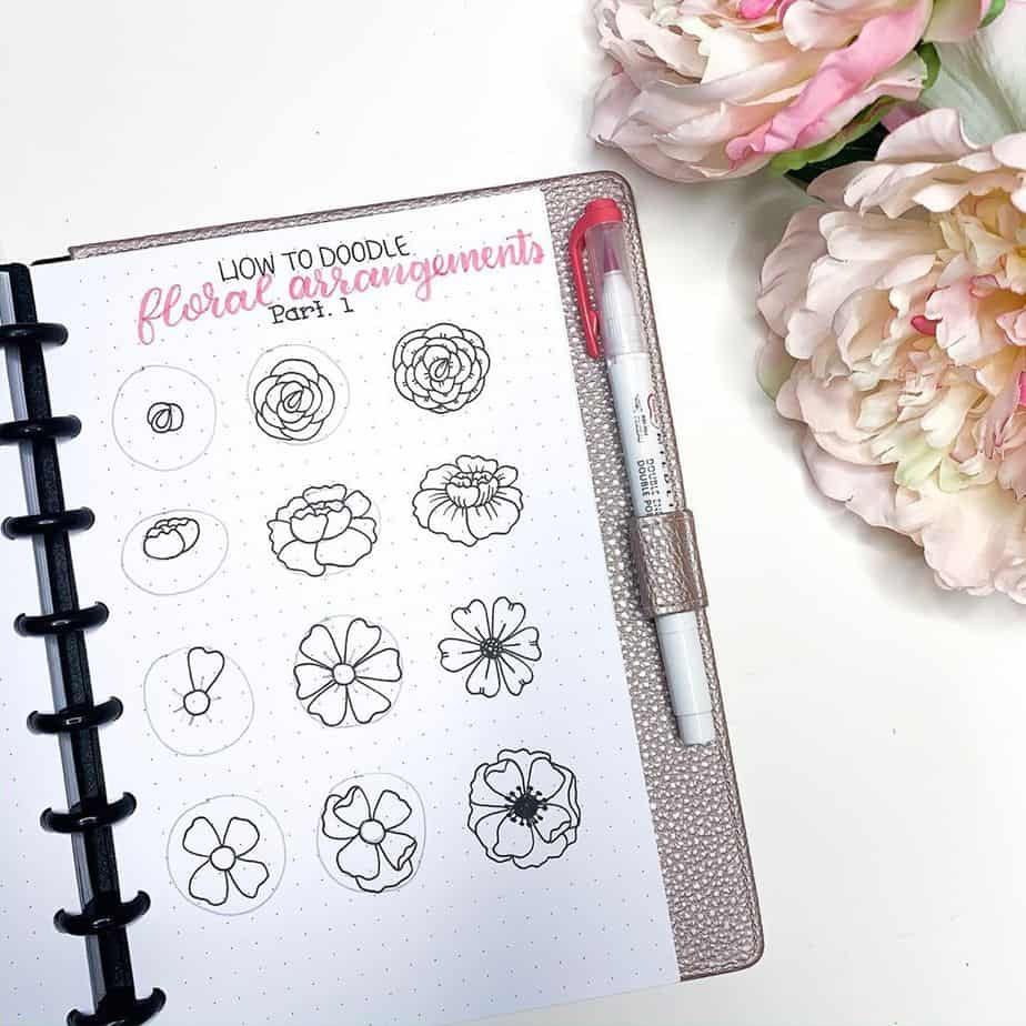 How To Draw Flowers - tutorial by @the.petite.planner | Masha Plans