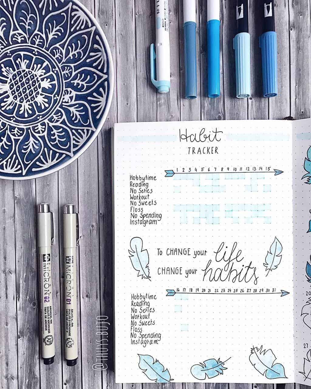 Boho Bullet Journal Theme Inspirations - spread by @thuys.bujo | Masha Plans