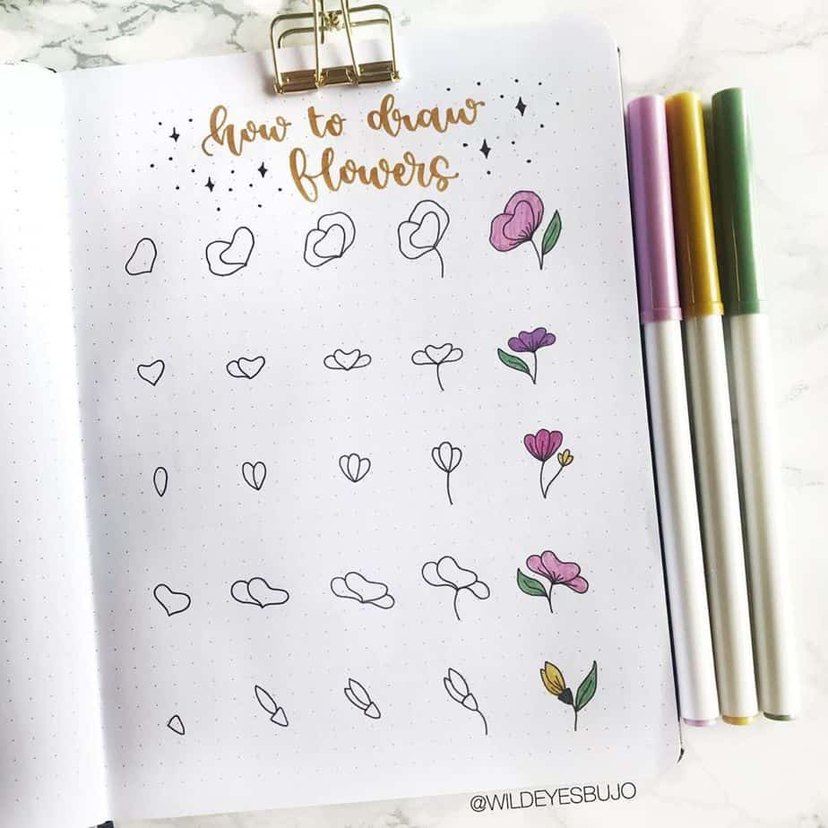 How To Draw Flowers - tutorial by @wildeyesbujo | Masha Plans