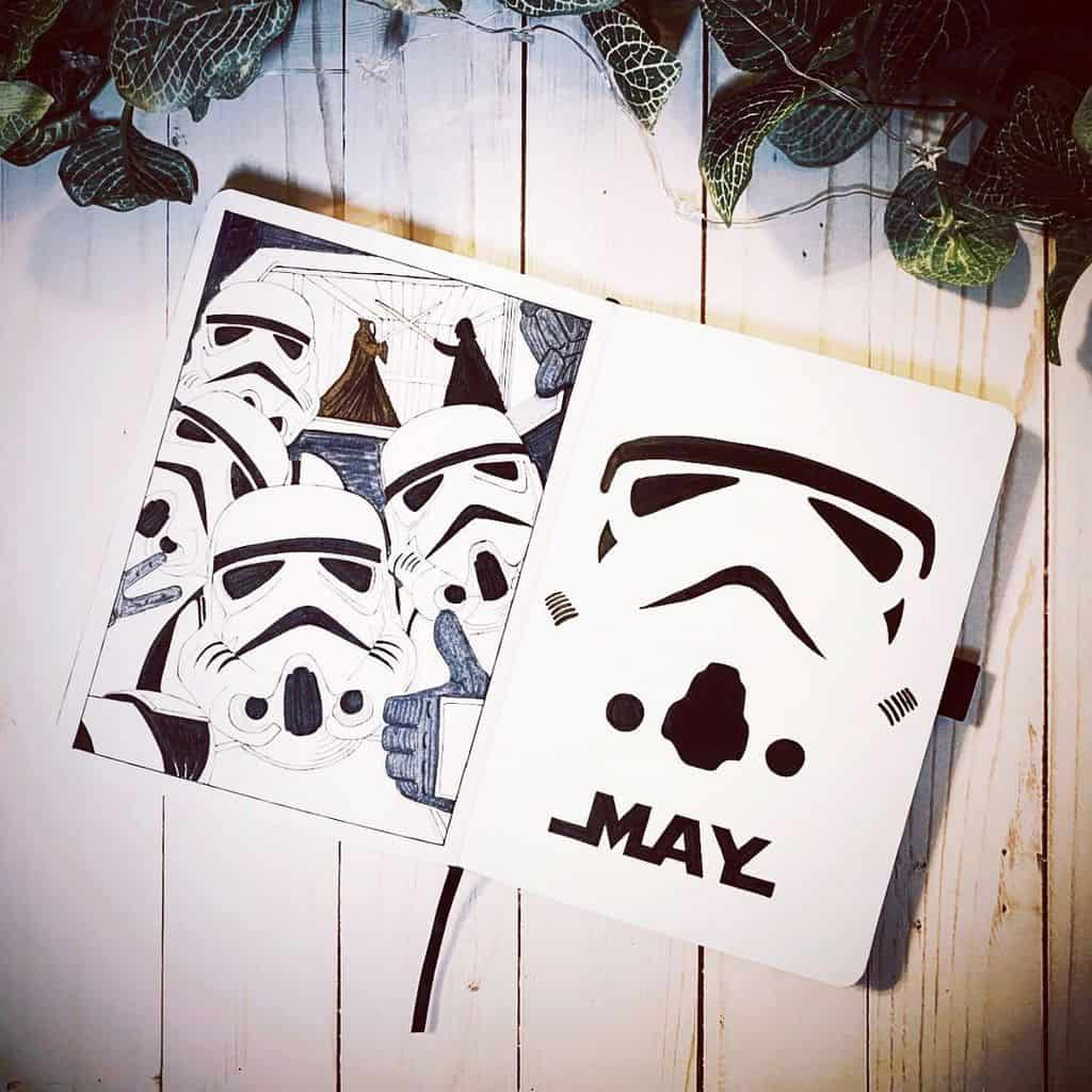 Star Wars Themed Bullet Journal Page by @a.j.mastel | Masha Plans