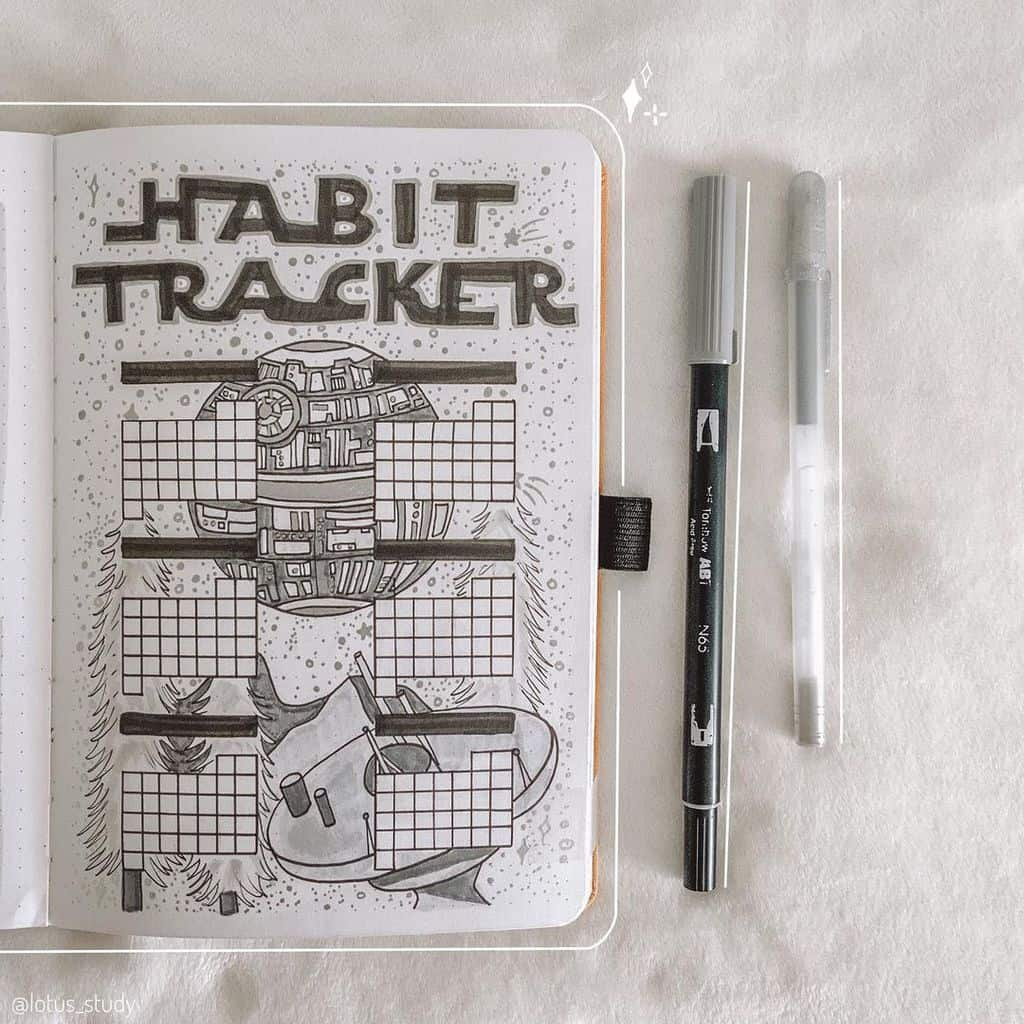 Star Wars Themed Bullet Journal Page by @lotus_study | Masha Plans