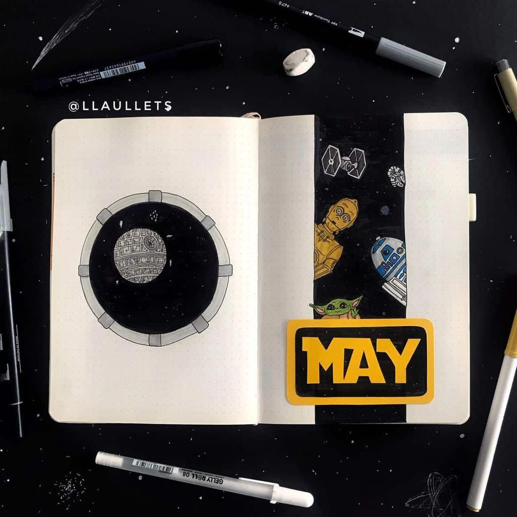 Star Wars Themed Bullet Journal Page by @llaullets | Masha Plans