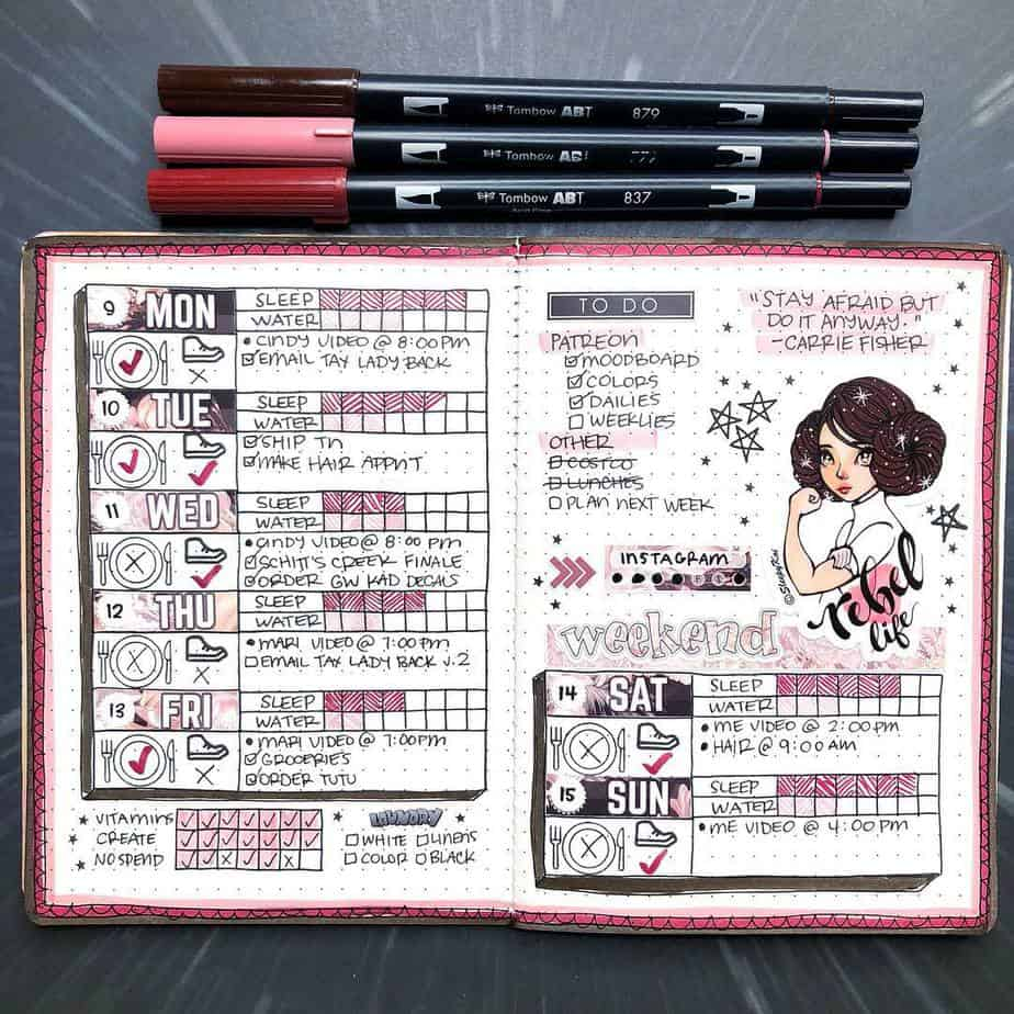 Star Wars Themed Bullet Journal Page by @quirkyheart