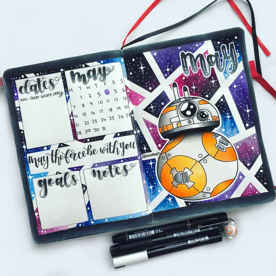 Star Wars Themed Bullet Journal Page by @rhiobujo