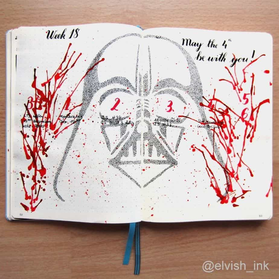 Star Wars Themed Bullet Journal Page by @elvish_ink