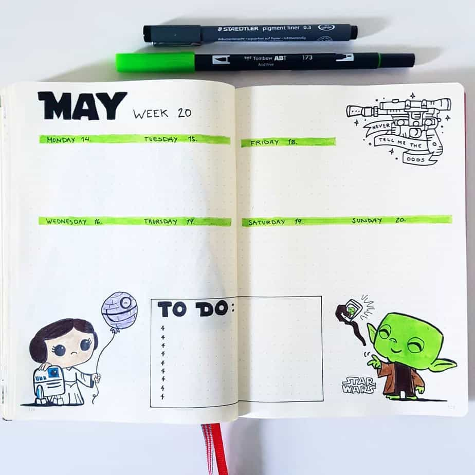 Star Wars Themed Bullet Journal Page by @thenorthernplanner