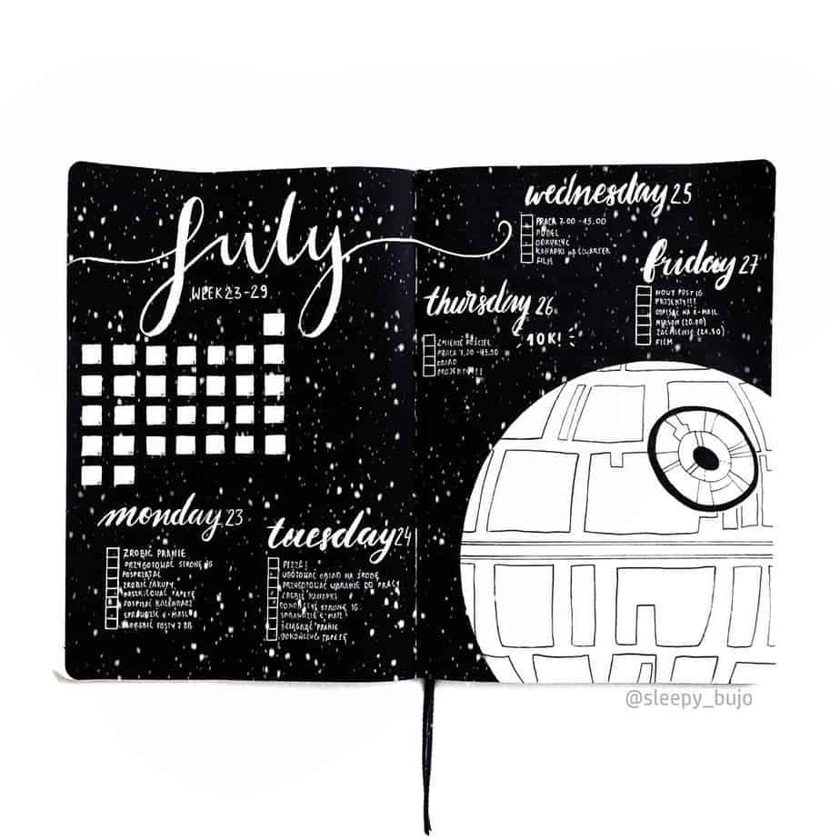 Star Wars Themed Bullet Journal Page by @julia.pezowicz