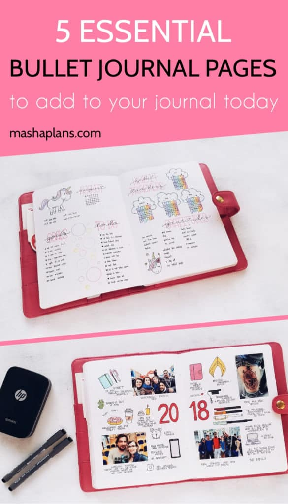 5 Essential Bullet Journal Page Ideas To Start Using Today | Masha Plans