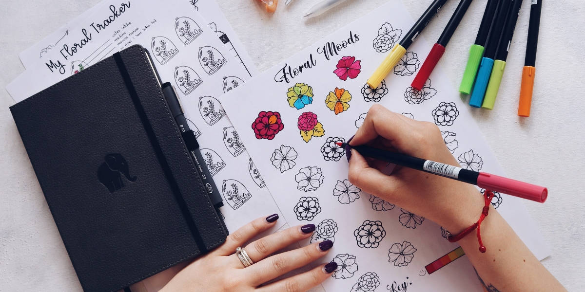 Floral Themed Free Printables For Your Bullet Journal, Mood Tracker   Masha Plans