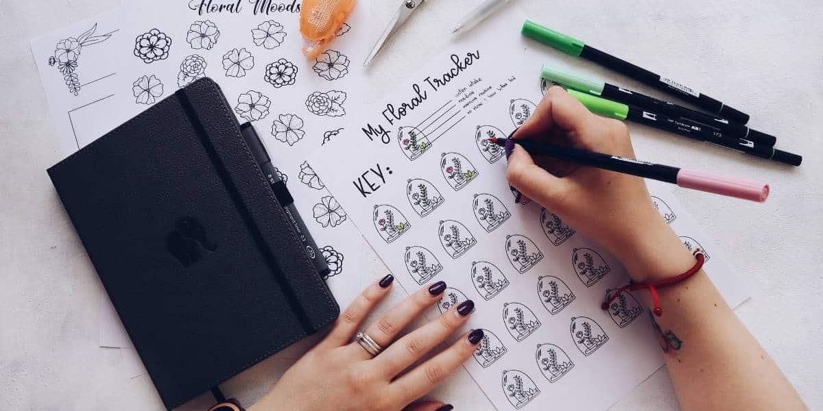 Floral Themed Free Printables For Your Bullet Journal, Habit Tracker   Masha Plans