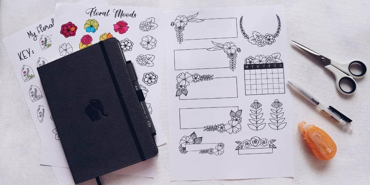 Floral Themed Free Printables For Your Bullet Journal, Floral Planner Elements   Masha Plans