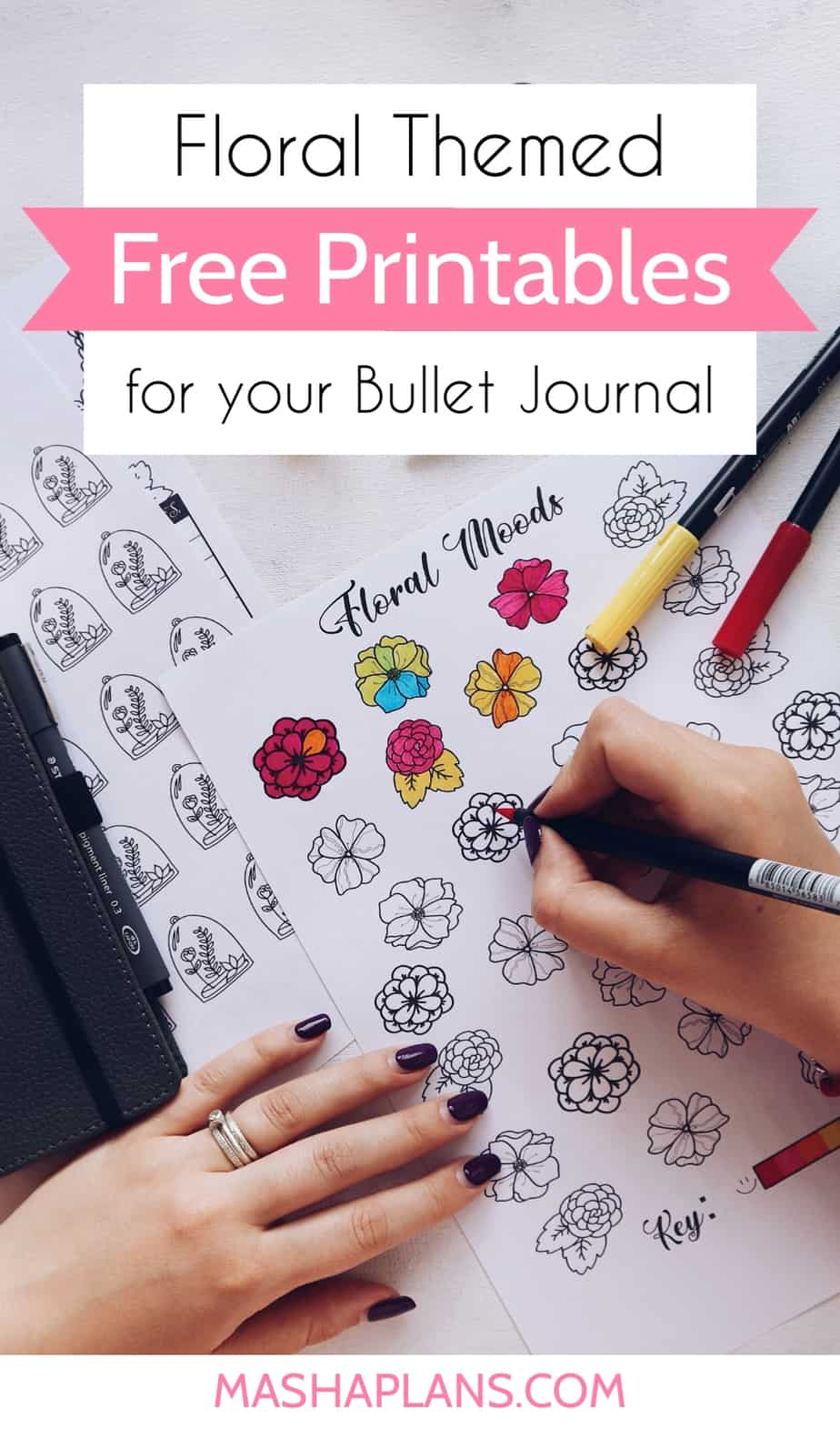 Floral Themed Free Printables For Your Bullet Journal   Masha Plans