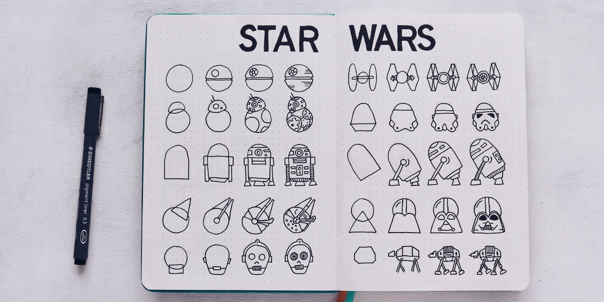 Out Of This World Star Wars Bullet Journal Theme Ideas, Star Wars Doodles | Masha Plans