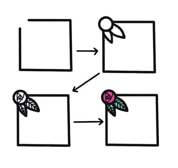 7 Ways To Add Flower Doodles To Your Bullet Journal, Flower Frame | Masha Plans