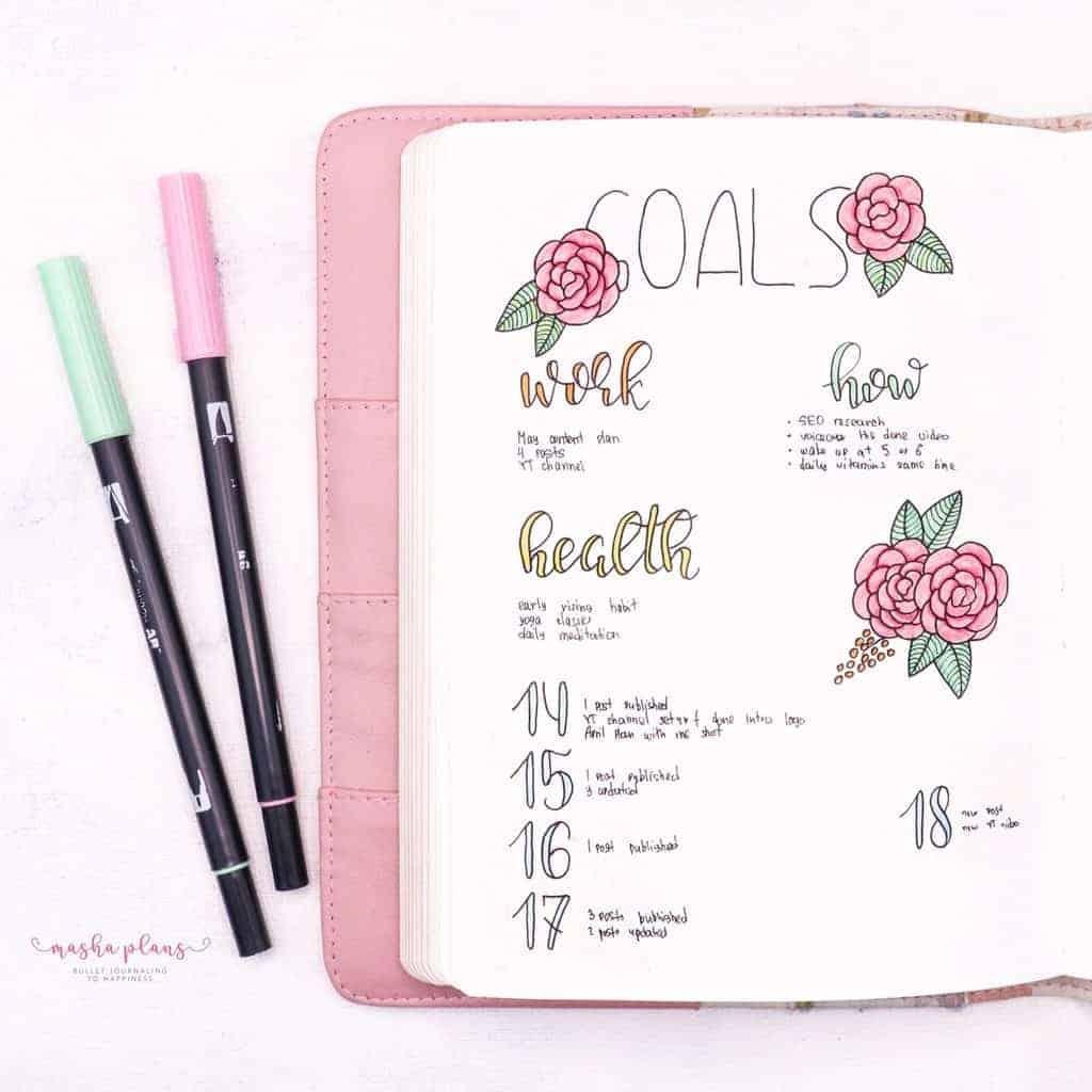 Floral Bullet Journal Setup - monthly goals | Masha Plans