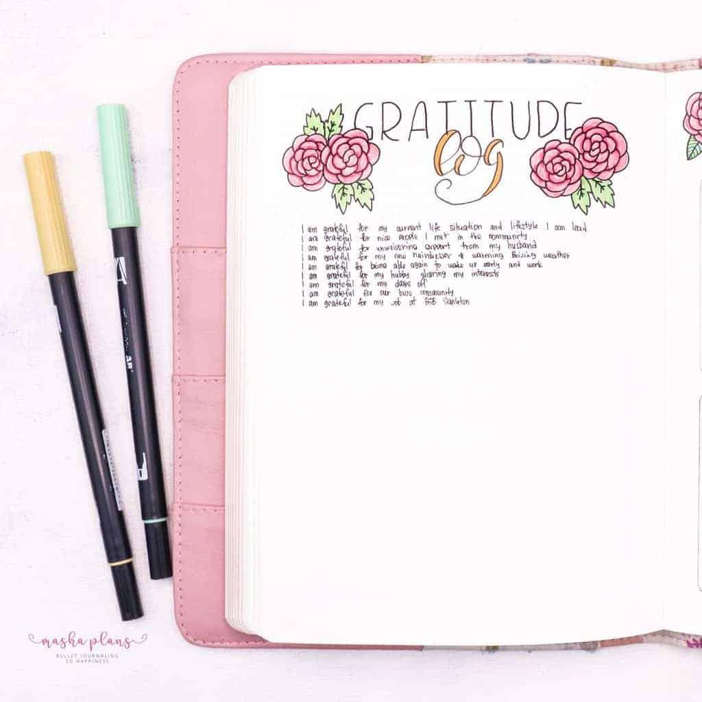 Floral Bullet Journal Setup - gratitude log | Masha Plans