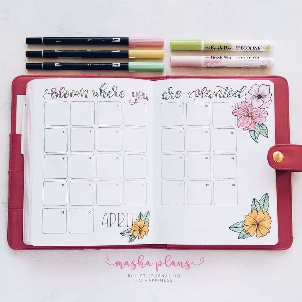 Floral Bullet Journal Setup - monthly log | Masha Plans