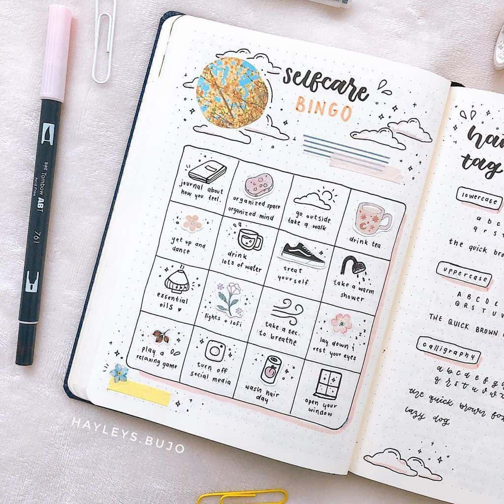 25 Inspirational Self Care Bullet Journal Page Ideas, spread by @hayleys.bujo | Masha Plans