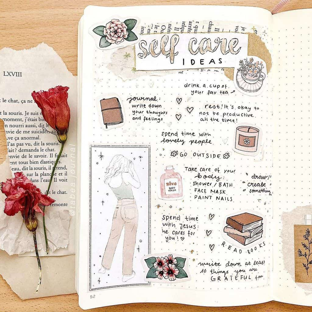 25 Inspirational Self Care Bullet Journal Page Ideas, spread by @tabea.journal | Masha Plans