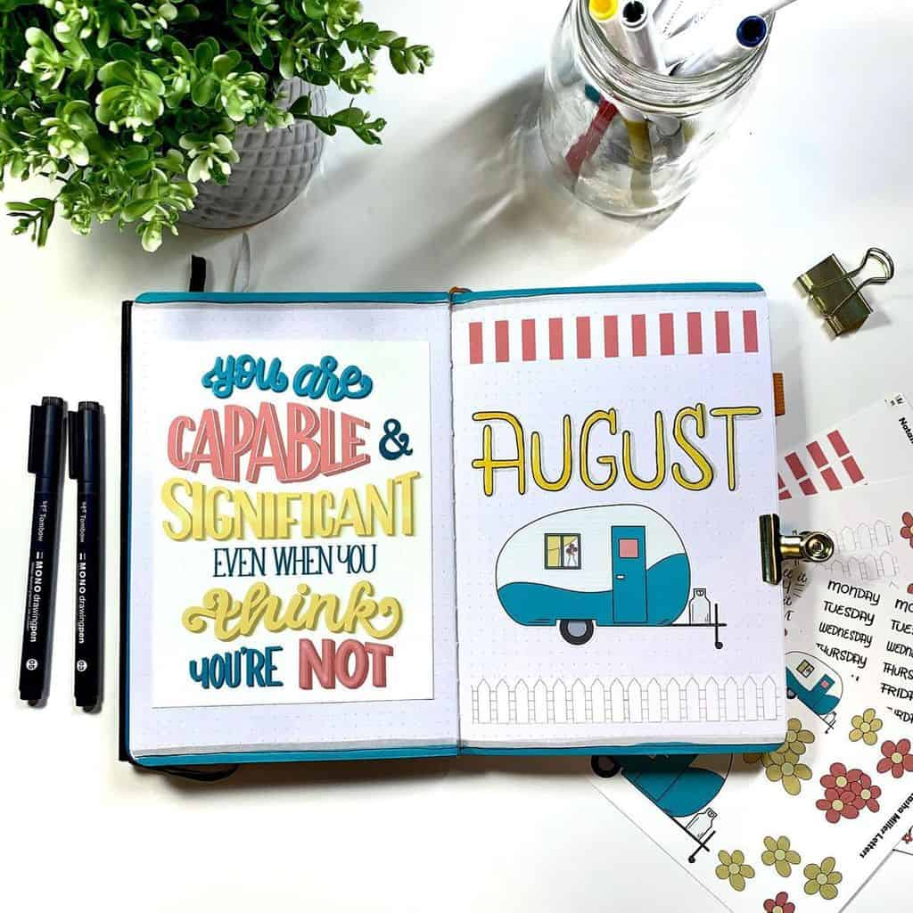 Summer Bullet Journal Theme Ideas, cover page by @natashamillerletters | Masha Plans