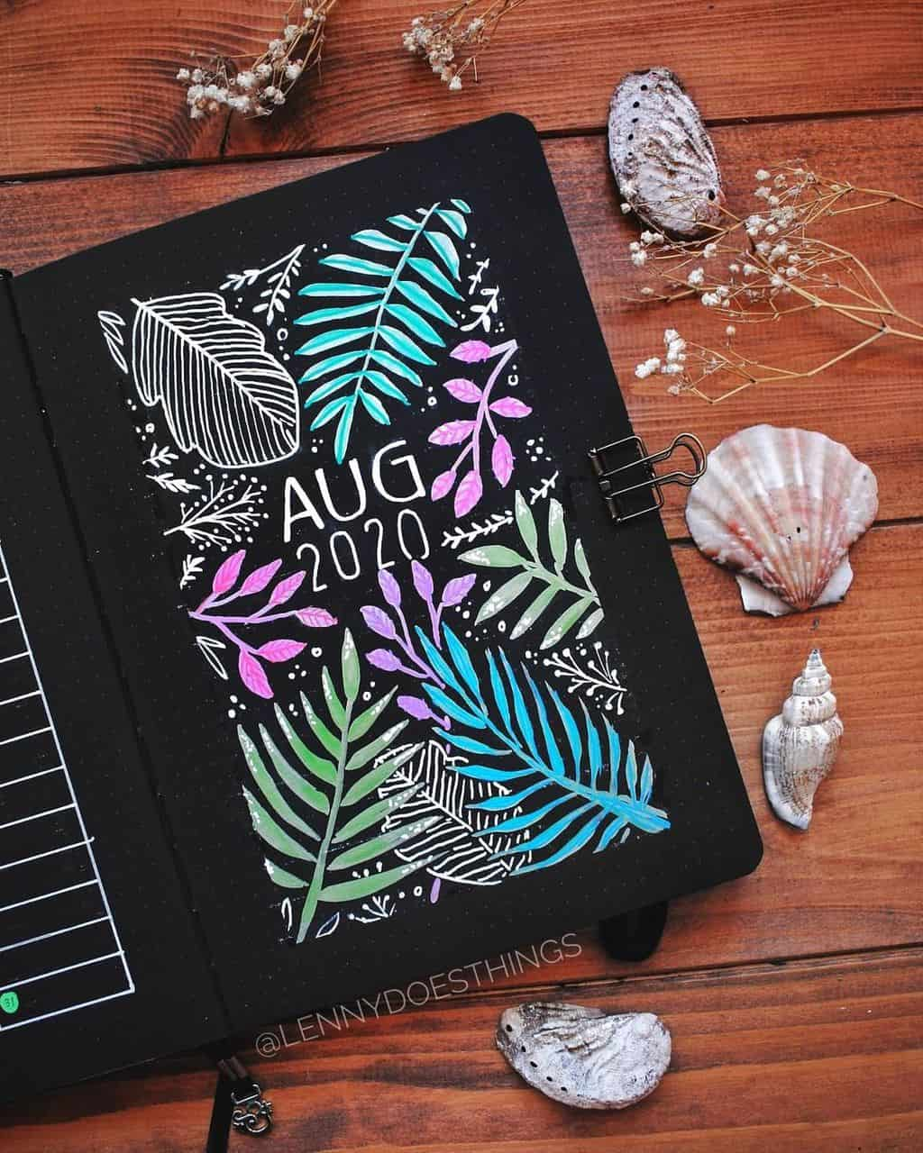 Summer Bullet Journal Theme Ideas, cover page by @lennydoesthings| Masha Plans