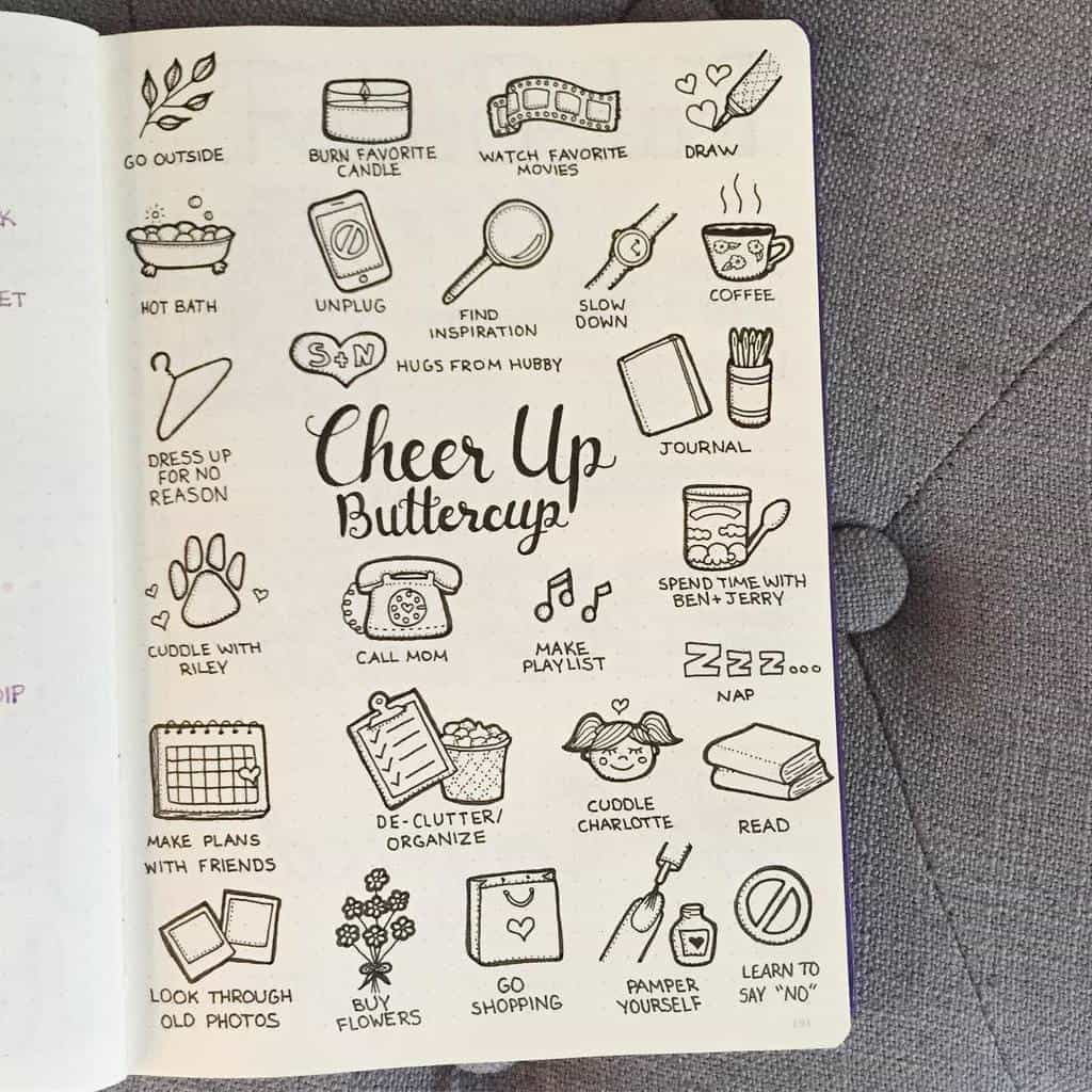 Self Care Bullet Journal Page Ideas, spread by @plansthatblossom | Masha Plans