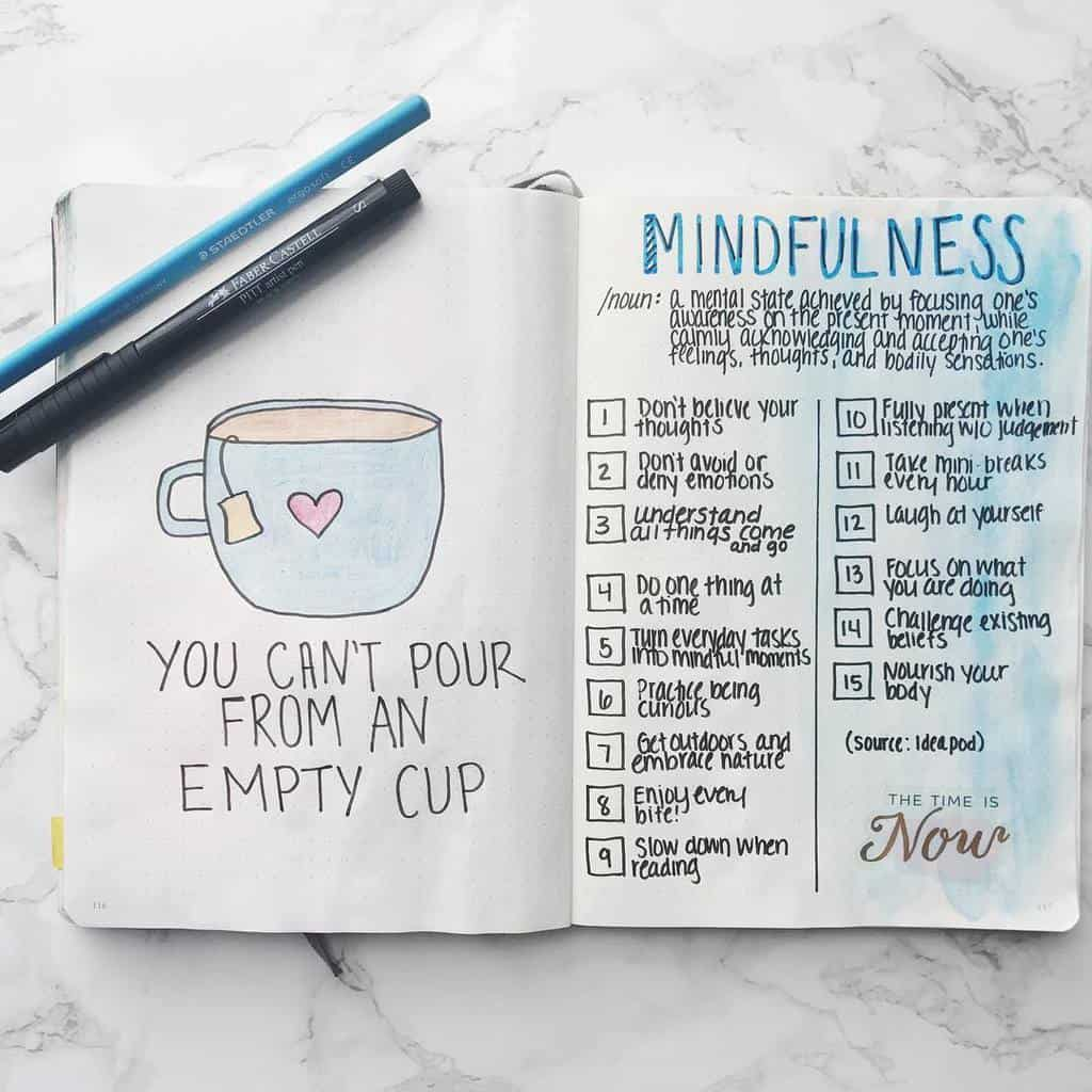 Self Care Bullet Journal Page Ideas, spread by @productiveandpretty | Masha Plans