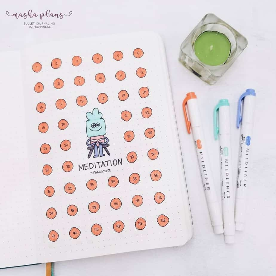 23 Inspirational Self Care Bullet Journal Page Ideas: Meditation Tracker | Masha Plans