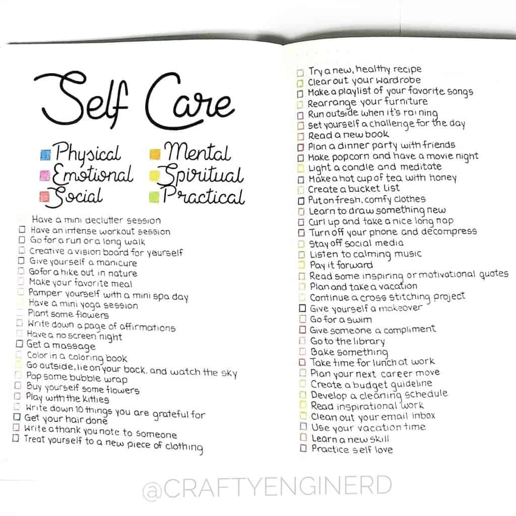 Self Care Bullet Journal Page Ideas, spread by @craftyenginerd | Masha Plans