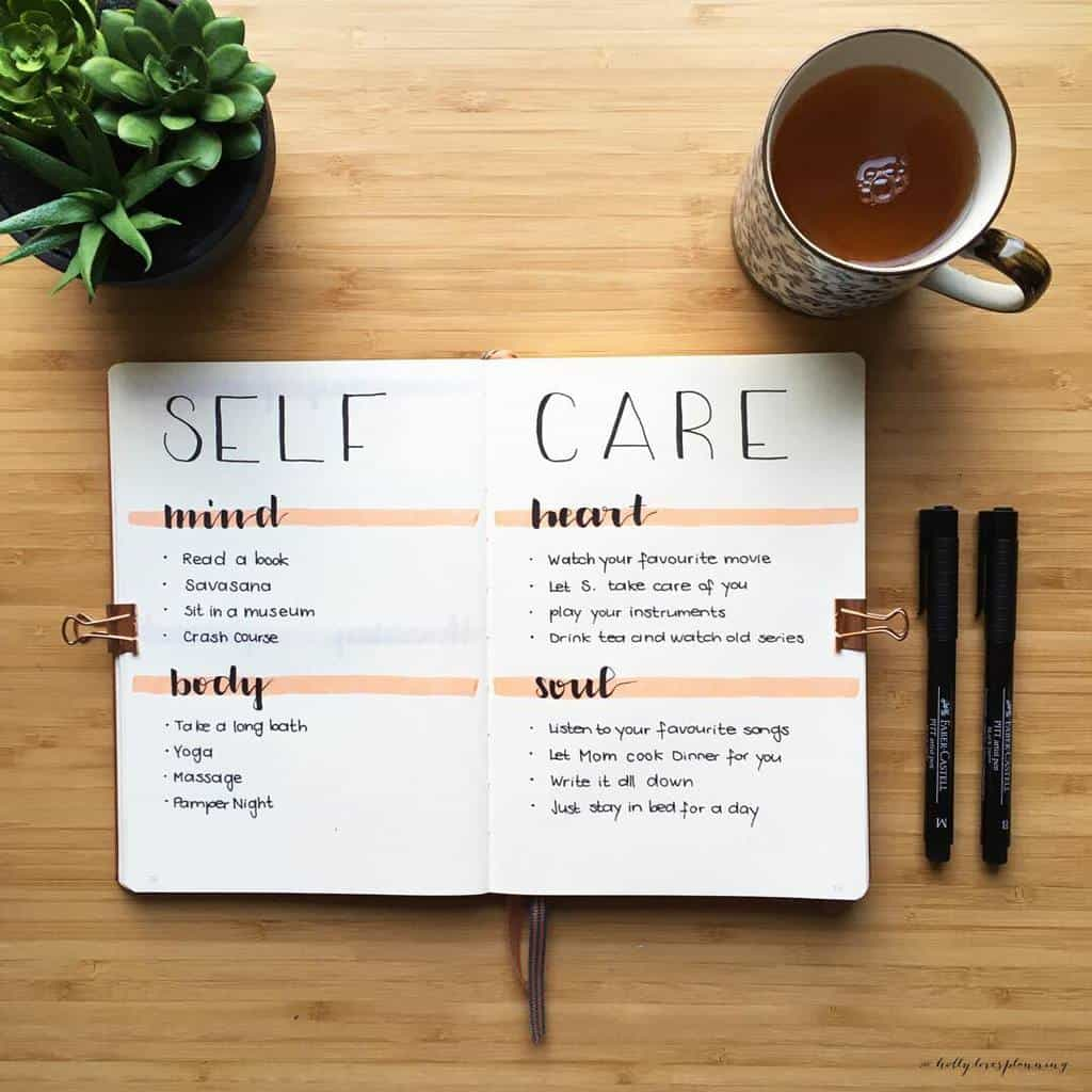 25 Inspirational Self Care Bullet Journal Page Ideas, spread by @hollylovesplanning | Masha Plans