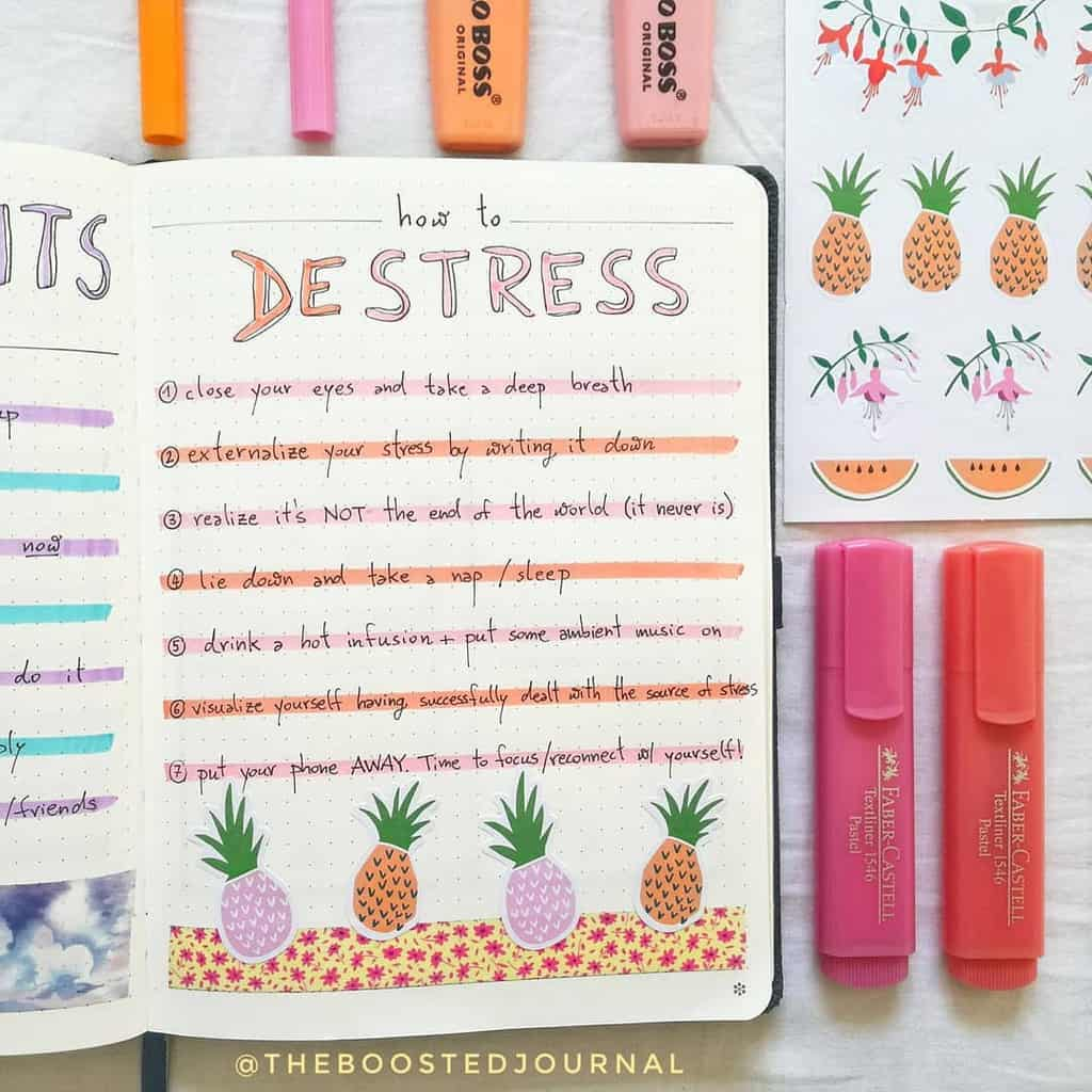 Self Care Bullet Journal Page Ideas, spread by @theboostedjournal | Masha Plans