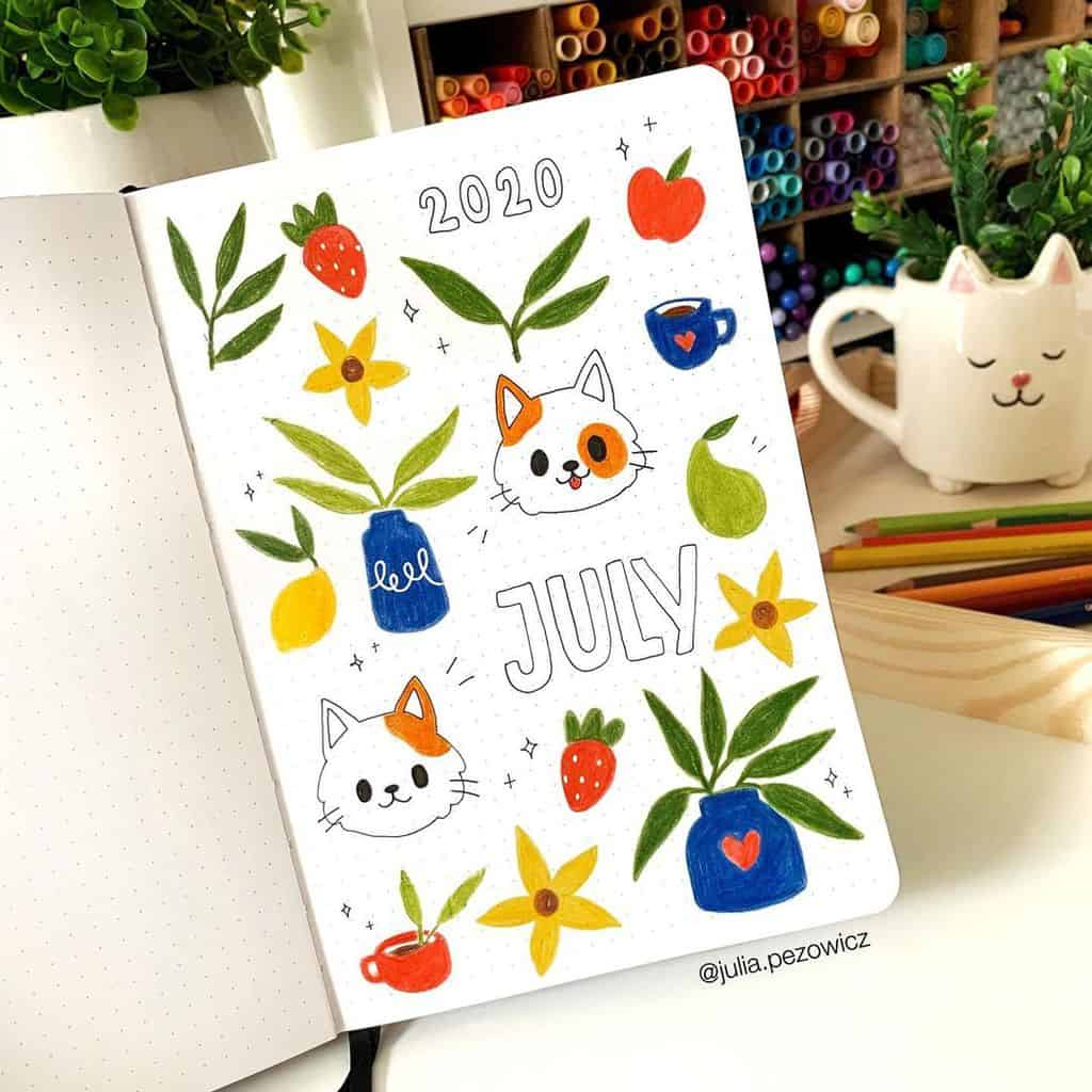 Summer Bullet Journal Theme Ideas, cover page by @julia.pezowicz | Masha Plans