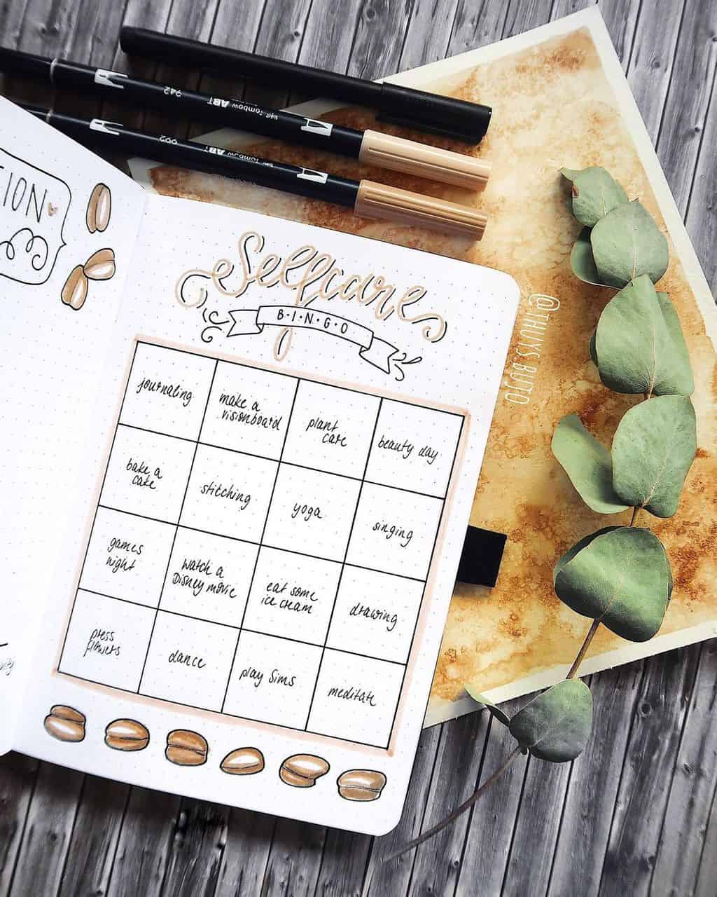 25 Inspirational Self Care Bullet Journal Page Ideas, spread by @thuys.bujo | Masha Plans