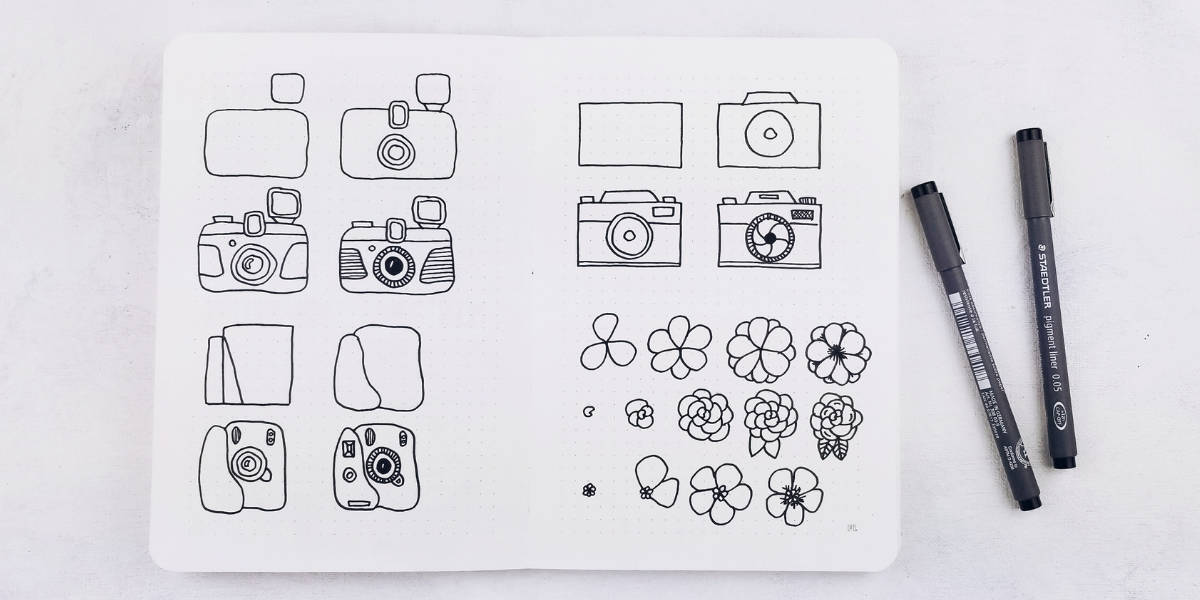 May Bullet Journal Setup - Photography Theme, Bullet Journal Doodles | Masha Plans