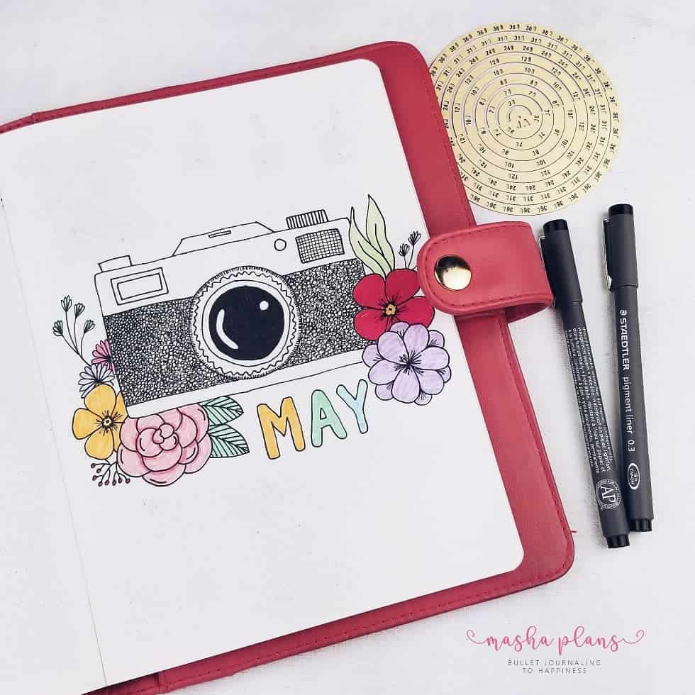 May Bullet Journal Setup - Photography Theme - cover page | Masha Plans