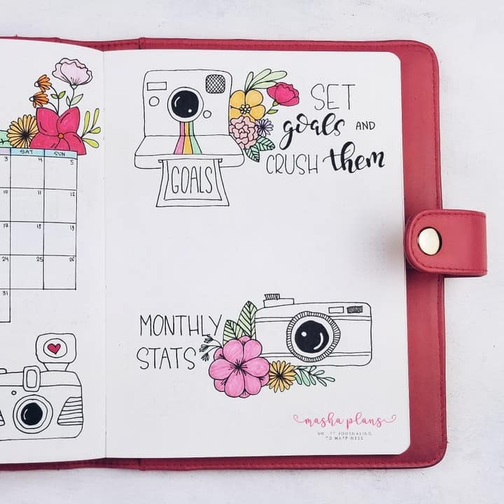 May Bullet Journal Setup - Photography Theme - monthly log | Masha Plans