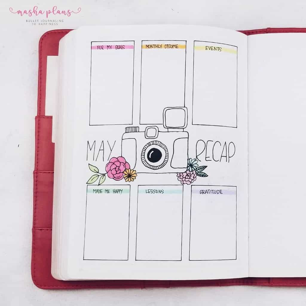 May Bullet Journal Setup - Photography Theme - monthly recap | Masha Plans