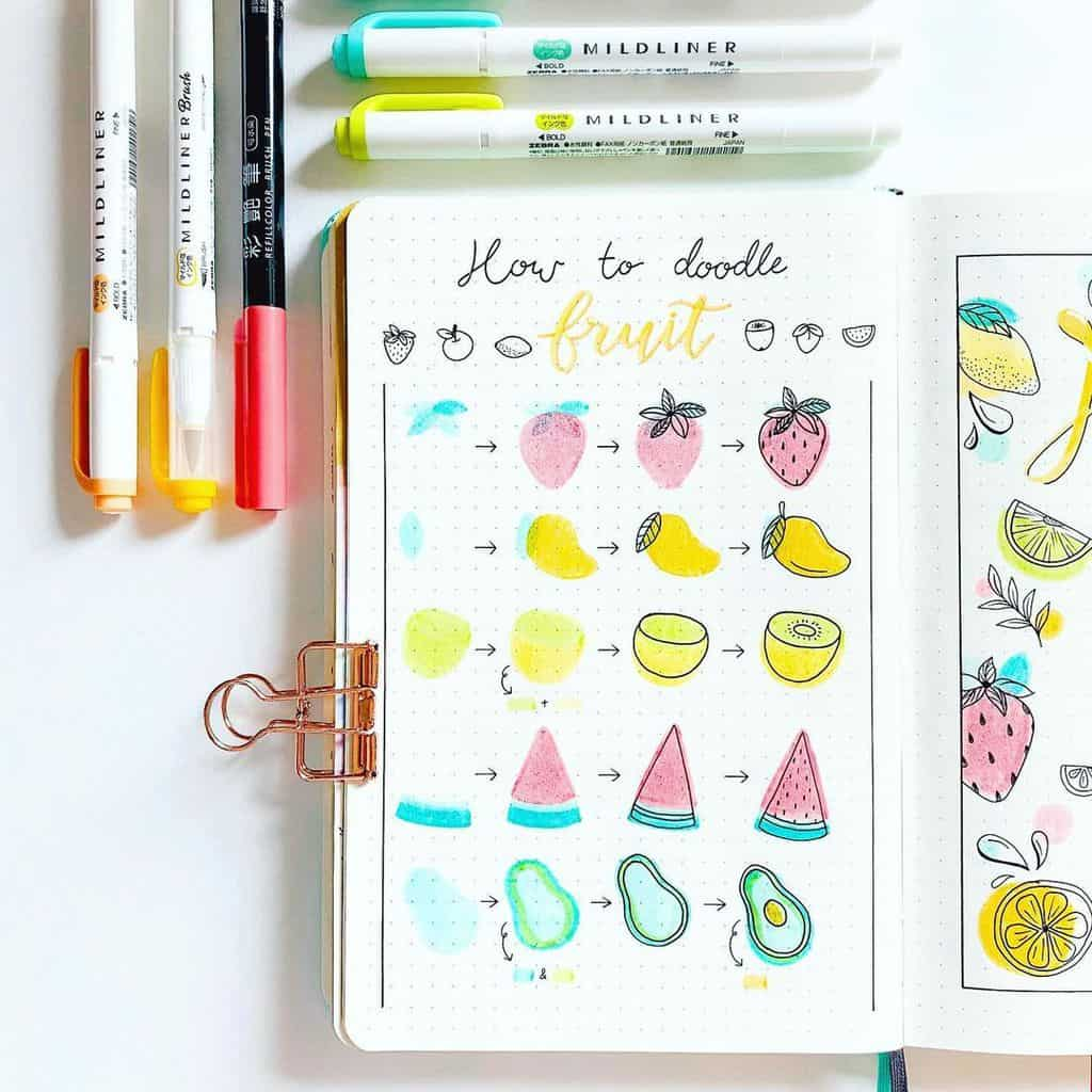Summer Bullet Journal Doodles by @haru.bujo | Masha Plans