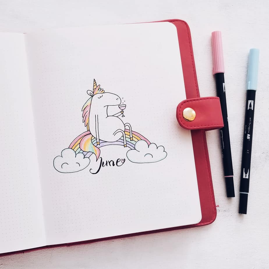 Unicorn Bullet Journal Setup: June Plan With Me, Cover Page | Masha Plans