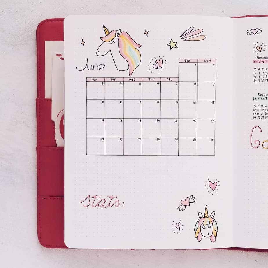 Unicorn Bullet Journal Setup: June Plan With Me, Monthly Log | Masha Plans