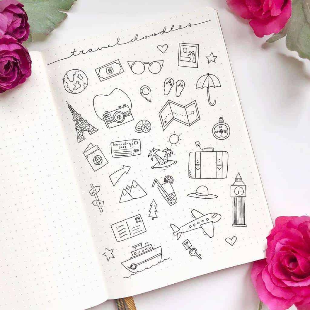 Summer Bullet Journal Doodles by @augustandrose.doodles | Masha Plans